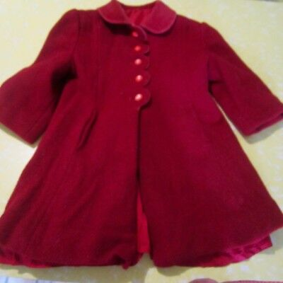 Vintage English Childs Dark Red Wool Coat age 4-5 years 1950s Velvet Collar