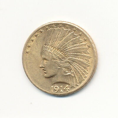 1914-D $10 Indian Head Gold AU Details Exact Coin Shown - FREE Shipping!