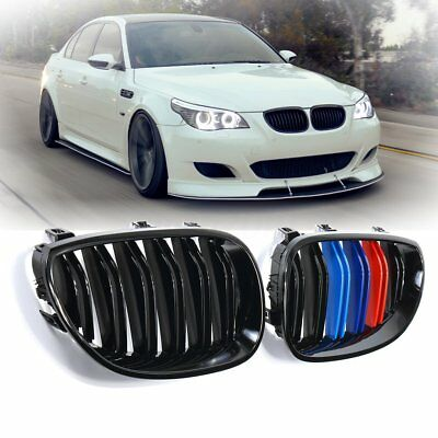 For 2003-2010 BMW E60 E61 5 Series Gloss Black M-Color Front Kidney Grill Grille