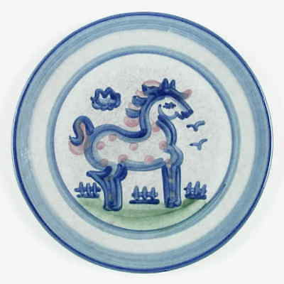 M A Hadley COUNTRY SCENE BLUE Horse Salad Dessert Plate 5757493