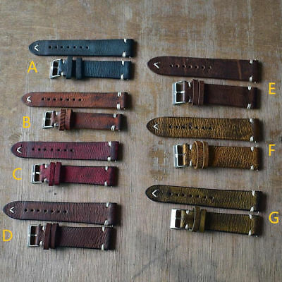 Women/Men Watch Band Strap Distressed Leather with Stitching Watch Acc Set