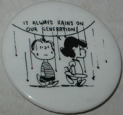 """Linus & Lucy """"It Always Rains on Our Generation"""" Pin Approx 1.75"""""""