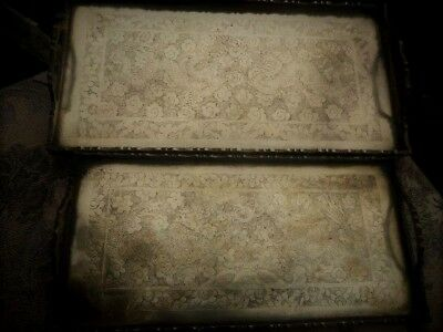 Fine Engraving Antique Brass Chinese Metal Ware Trays X 2 Signed 'china'