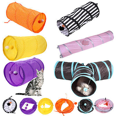 Pet Cat Kitten Dog Puppy Rabbit Folding Tunnel Game Play Toys w/ Bell Ball Gifts
