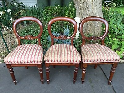 Set of 3 (or 4) Antique Victorian Mahogany Balloon Back Dining Chairs!