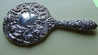 SOLID SILVER EMBOSSED HAND MIRROR Broadway & Co  1975