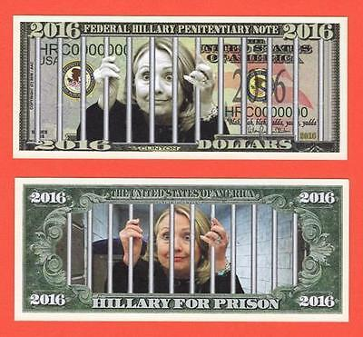 LOCK HER UP Federal Penitentiary Note Hillary Clinton Novelty Bill USA SELLER