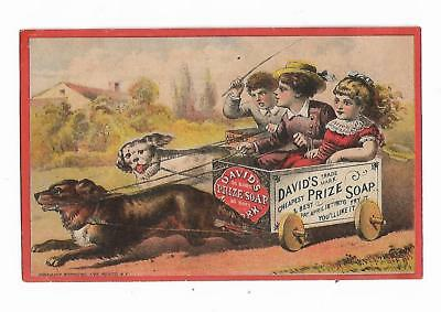 Old Trade Card David's Prize Soap Laundry Household Children Dog Pulling Wagon