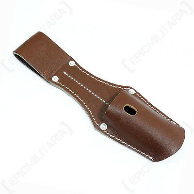 K98 Bayonet Frog without Strap - Brown WW2 Repro German Leather Carrier Case New
