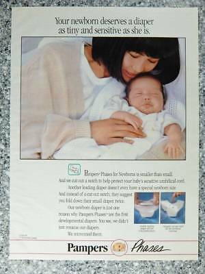 1991 Pampers Phases Diapers - Vintage Magazine Ad Page - Mom with Newborn Baby