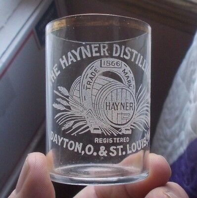 Hayner 1866 Horseshoe & Barrel 2 Cities Etched Pre Pro Whiskey Shot Glass