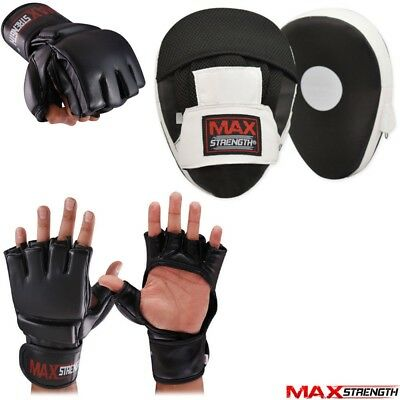 Cut Finger Grappling Gloves Boxing Focus Pads Set Hook and Jab MMA Muay Thai