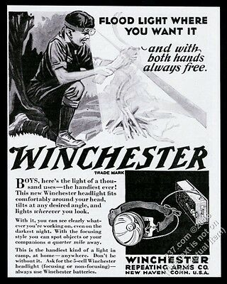 1930 Boy Scout making fire Winchester headlight hear-mounted flashlight print ad