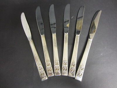 SET of 6 ONEIDA COMMUNITY SILVER PLATED HAMPTON COURT / CORONATION DINNER KNIVES