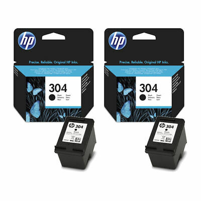 2x Original HP 304 Black Ink Cartridges For DeskJet 2630 Inkjet Printers
