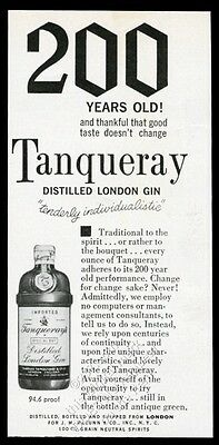 1963 Tanqueray Gin bottle photo '200 years old' vintage print ad