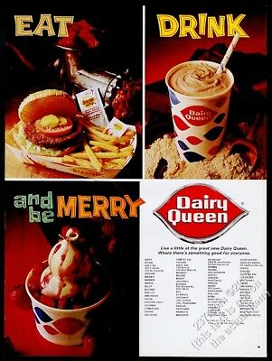 1969 Dairy Queen ice cream sundae milk shake Brazier hamburger photo print ad