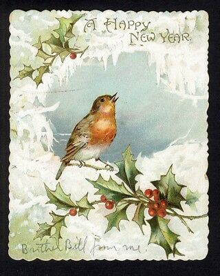 Nister NEW YEAR Greeting Card c 1890s Bird Singing in Snow Holly Berry Leaves