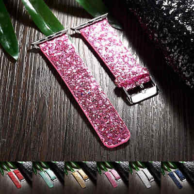 For Apple Watch 38mm & 42mm Slim Fashion Bling Glitter Leather Strap Watch Band