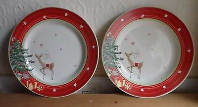 Spode Christmas Jubilee Side Plates Red