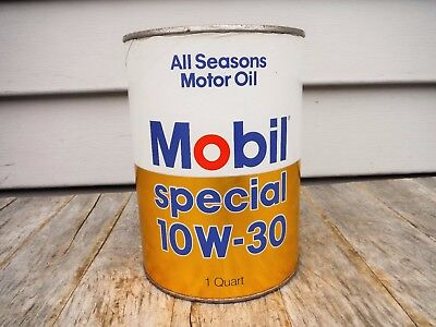 Vintage 1 Quart Mobil Special 10W 30 Motor Oil Can Full! Nice! Great Graphics