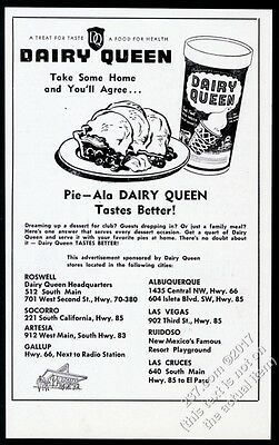 1954 Dairy Queen ice cream & pie art unusual Roswell New Mexico print ad