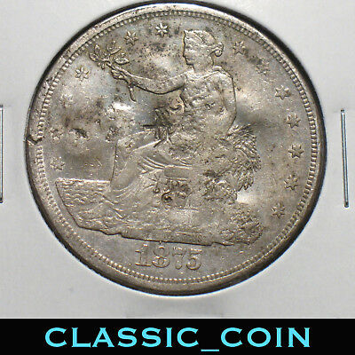 1875-Cc U.s. Silver Trade Dollar $1 Chop Marked 142 Years Old Free S/h