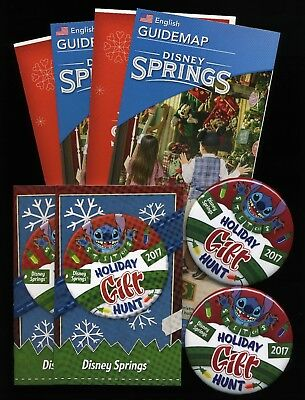 Disney Springs Christmas Holiday Pack 2017 Stitch Gift Hunt Buttons /& Passports!