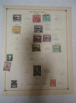 Vintage Czechoslovakia Postage Stamps 1918-1925 On Page Lot of 17