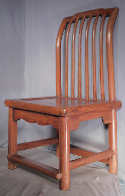 Antique Chinese QING Dynasty Elm Wood Scholar Chair Graceful Oriental Carved OLD