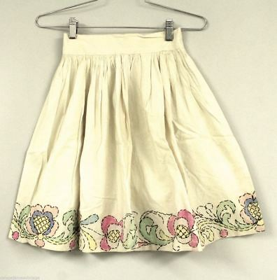 """Vintage Childs Skirt Hand Painted Embroidered 1920s 22"""" Waist S 19"""" L"""