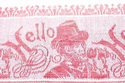 """Antique Red/White Linen Damask Wash Stand Towel """"Hello"""" Telephone Motif Top Hat"""