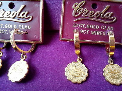 EARRINGS, ZODIAC CREOLA 22ct GOLD PLATED over STERLING SILVER. 9ct WIRES