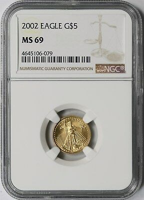 2002 Gold Eagle $5 Tenth-Ounce MS 69 NGC 1/10 oz Fine Gold