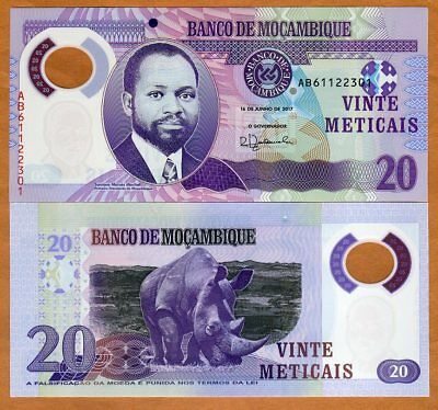 Mozambique, 20 Meticais 2017, P-149b, POLYMER, New Signature UNC > Rhino