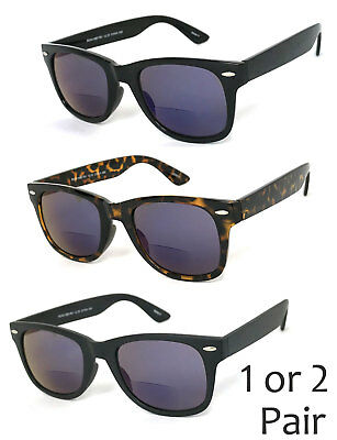1 or 2 Pair(s) Retro Square Frame Blue Tinted Lens Bifocal Sunglasses Sun Reader