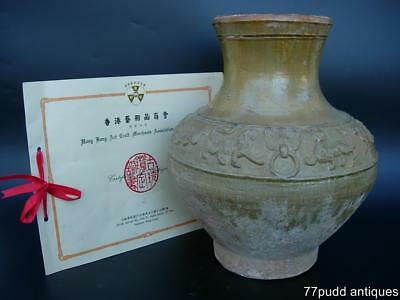An Antique Chinese Amber Glazed Pottery Jar, Hu, Han Dynasty, With Certificate
