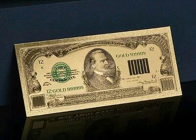 <PERFECT FINE DETAIL> GOLD $1,000 DOLLAR Rep.* Banknote~GORGEOUS PIECE OR ART!