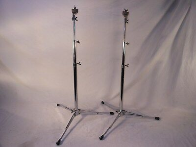 2 Excellent Vintage 1968 Gretsch Dewey Chrome Plated Flat Base Cymbal Stands