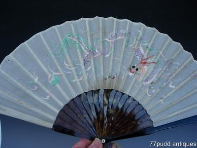 An Antique Chinese Embroidered Silk Fan With Original Lacquer Box