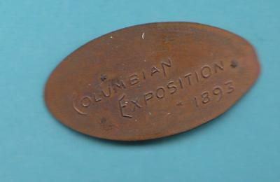 1893 Columbian Exposition Souvenir Elongated on 1890 Indian Head Cent- inv#9438