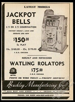 1947 Buckley Jackbot Bells slot machine photo vintage trade print ad