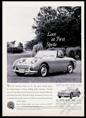 1960 Austin Healey Sprite and 3000 photo Love At First Sprite vintage print ad