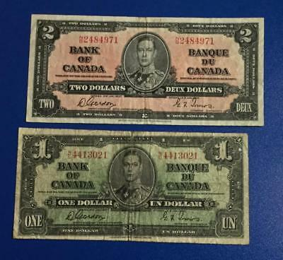 1937 $2 & $1 Canada Paper mOney Currency! Old Notes!