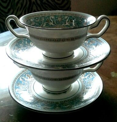 Vintage 2 Pc WEDGWOOD TURQUOISE FLORENTINE FOOTED CREAM SOUP BOWL & SAUCER W2714