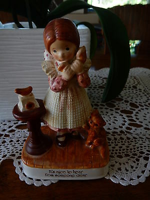 Vintage Holly Hobbie  Porcelain Figurine It's Nice To Hear From Someone Dear