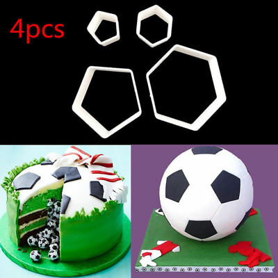 4X Football Cookie Cutter Soccer Shape Fondant Cake Decor Sugarcraft Mould Hot
