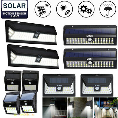 2Pack LED Solar Powered PIR Motion Sensor Wall Light Outdoor Yard Garden Lamp US
