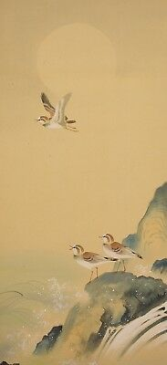 """JAPANESE HANGING SCROLL : SHUHO """"Moon,Seaside and Three Plovers""""  @f982"""