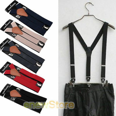 New Mens Womens Elastic Clip-on Solid Color Y-Shape Adjustable Braces Suspenders